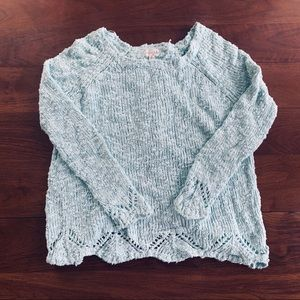 Nordstrom split back teal sweater